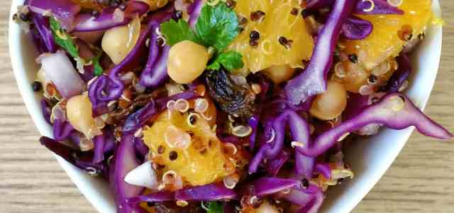 Orange and Red Cabbage Quinoa Salad [Vegan Recipe]