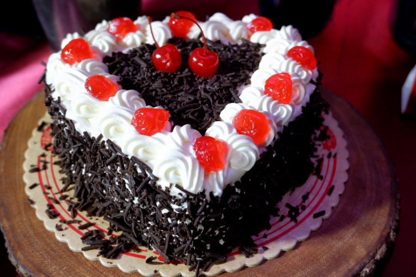 Red Ribbon Valentine Black Forest Cake