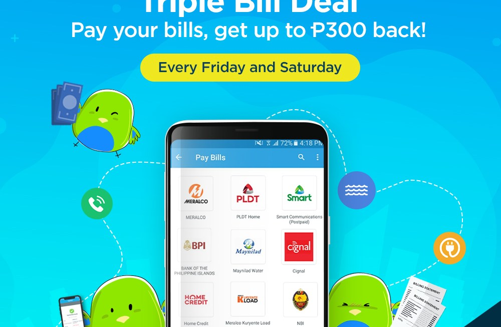 Pay Your Bills with PaymayaGet up to P300 Cashbackplus a chance to havePayMayaCover your Bills next month!
