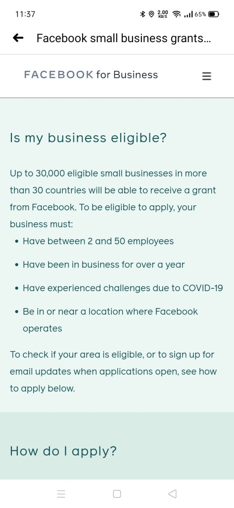 Facebook Grant Philippines small businesses