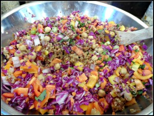Cashew & Chick Pea Quinoa Salad With Ginger Peanut Dressing