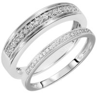 White Gold Wedding Band Sets His Hers - Wedding and Bridal ...