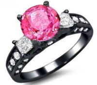Black Gold Engagement Ring with Pink Stone - Wedding and ...