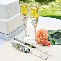 Wedding Champagne Flutes And Cake Server Sets - Wedding ...