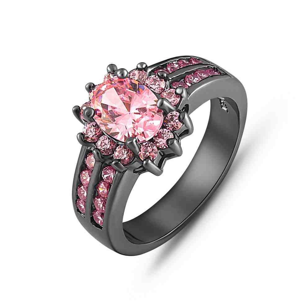 Black Gold And Pink Diamond Engagement Rings