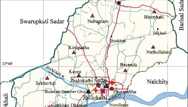 Study area map (Jhalokathi Sadar Upazila)
