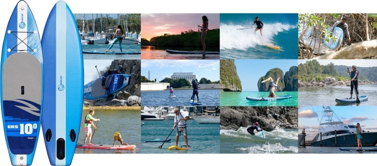 Earth River SUP boards and riders composite picture of stand up paddle boards