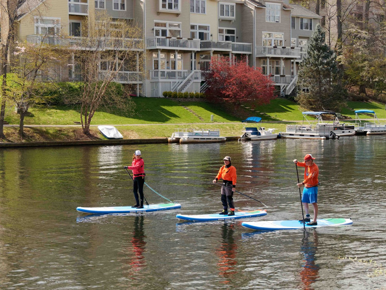 Inflatable SUPs on Lake