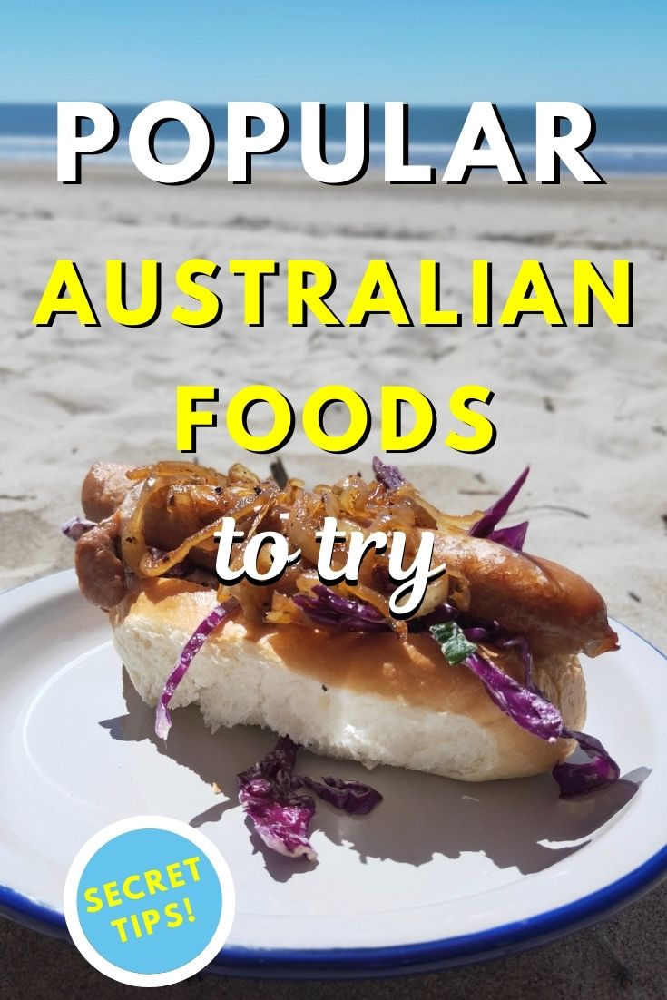 Popular Australian foods to try. Discover what to eat in Australia: 12 amazing Australian dishes that will make your mouth water - snags on bread, meat pie, avocado on toast, fish & chips and more! #australia #food #australianfood #foodaustralia #eataustralia #travelfood #travel #earthsattractions