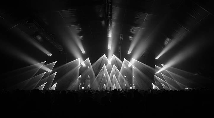 Spotlights illuminating stage