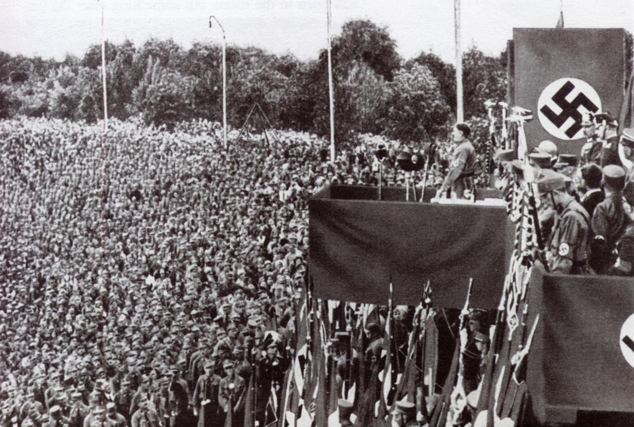 Hitler addresses a bunch of Nazis