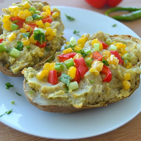 Out-Of-This-World Vegan Mexican Style Avocado Stuffed Potato Skins