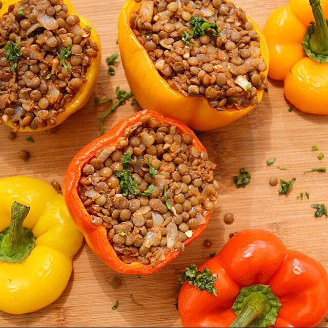 Vegan Curried Suffed & Fluffed Lentil Peppers