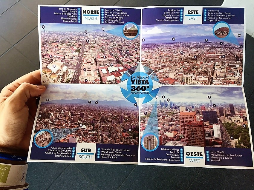 mexico city travel guide: map of points of interest as seen from panoramic view from latinoamerica building