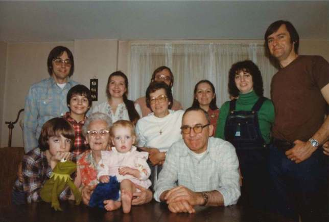 Family photograph at the holidays, maybe 1984.