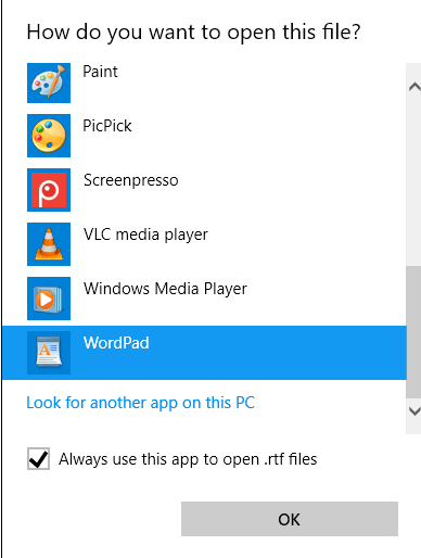 Windows WordPad Open RTF File