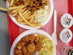 Whole belly clams, Fried Scallops. Lobster Hut