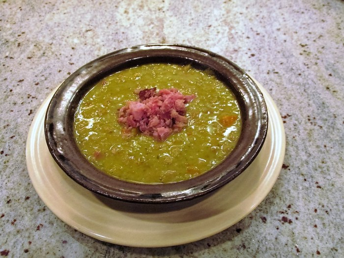 Split pea soup with ham and vegetables