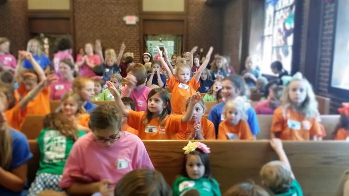 Bennett at Bible School with new friends