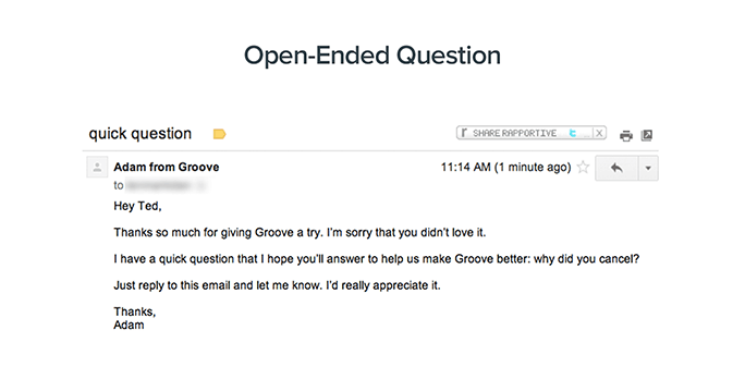 Asking one, simple question can garner the highest number of responses, as well as more detailed replies. <em>Source: GrooveHQ.com.</em>