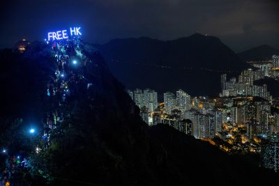 Anti-government protesters gather at Lion Rock, in Hong Kong, 13 September 2019 (Photo: Reuters/Athit Perawongmetha).
