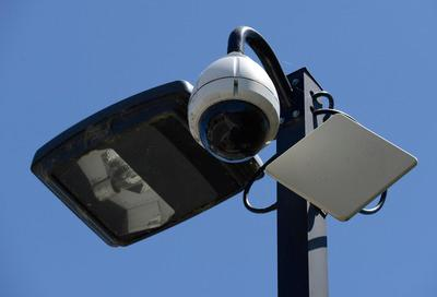 A video surveillance camera used by the Pittsburg Police is located near a parking lot on Marina Blvd. in Pittsburg, Calif., on Monday, June 17, 2013. The monitoring station allows police to monitor street corners, public parking lots, local streets and the downtown marina. (Jose Carlos Fajardo/Bay Area News Group)