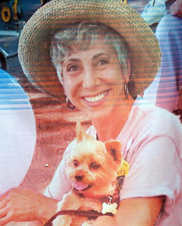 A photo of homicide victim Judy Salamon is seen at a memorial for her on Fern Street in Oakland, Calif., on Thursday, July 25, 2013. Salamon, 66, was shot and killed Wednesday afternoon while driving a few blocks from her home in Oakland's Fairfax district, marking the city's 56th homicide of the year. (Jane Tyska/Bay Area News Group)