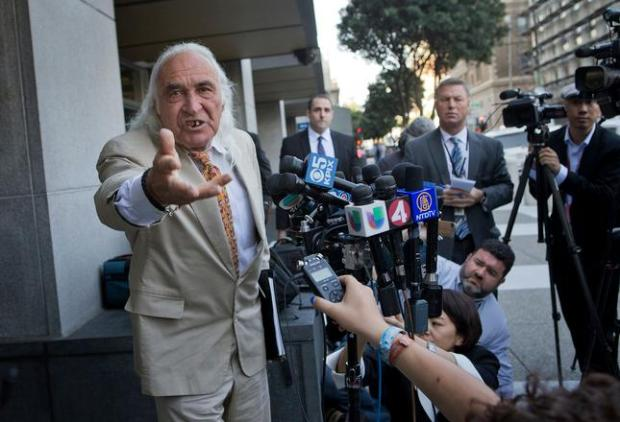 "Attorney Tony Serra, left, talks about Leland Yee's co-defendant Raymond ""Shrimp Boy"" Chow outside the federal courthouse in San Francisco, Calif. on Tuesday, April 8, 2014. (LiPo Ching/Bay Area News Group)"