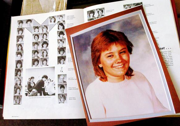 A 1984 school photo of Tina Faelz and her Foothill High School yearbook photographed at the home of her mother, Shirley, in Pleasanton, Calif., in 2005. (Contra Costa Times/Dan Honda)