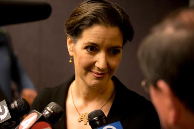 Oakland Mayor Libby Schaaf talks to reporters before the start of a round table to improve relations between local law enforcement and the community, Thursday, Feb. 5, 2015 at the Ronald V. Dellums Federal Building in Oakland, Calif. (D. Ross Cameron/Bay Area News Group)