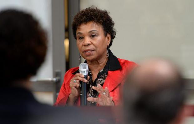 Rep.Barbara Lee speaks during a town hall meeting to address issues underlying recent protests over the killings of unarmed black men by police in Missouri and New York held at the Ed Roberts Campus in Berkeley, Calif., on Saturday, Jan. 17, 2015. The Berkeley city council hosted the event where citizens got the chance to voice their concerns and the issues were discussed. (Dan Honda/Bay Area News Group)