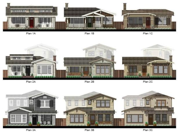 Homes at Deer Hill, Lafayette, architectural sketches. (O'Brien Land Co., KTGY Group)