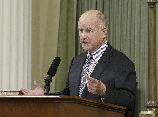 California Gov. Jerry Brown addresses a joint session of the Legislature in Sacramento, Calif .(AP Photo/Rich Pedroncelli)