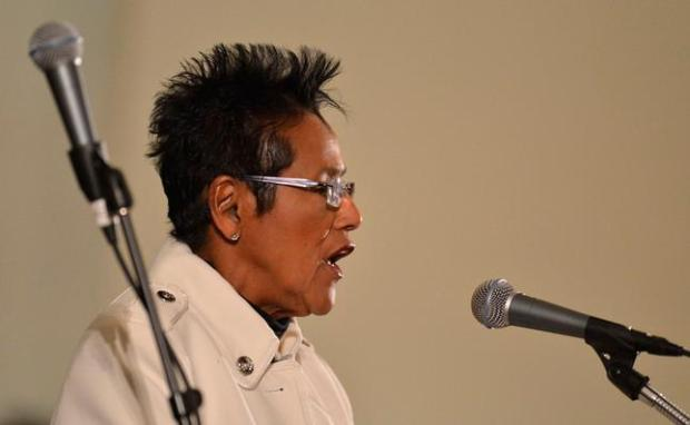 Elaine Brown, former Black Panther Party chairman, speaks at an event at the Third Baptist Church in San Francisco, Calif., Sunday, Dec. 14, 2014. (Susan Tripp Pollard/Bay Area News Group)