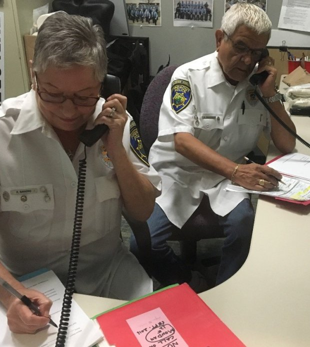 Fremont communitymembers and police patrol volunteers Tony and Mona Navarro make calls to Fremont residents who are seniors, disabled and home bound, to check up on them as part of the You Are Not Alone program on Tuesday morning, Sept. 13, 2016. Photo courtesy of Fremont Police Department