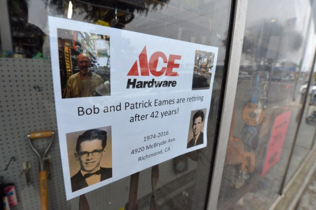 A retirement announcement hangs in the window at the Eames brother's Ace hardware store in Richmond, Calif. on Thursday, Sept. 1, 2016. After 42 years, Patrick and Bob Eames  have decided to retire and are closing the store. (Kristopher Skinner/Bay Area News Group)