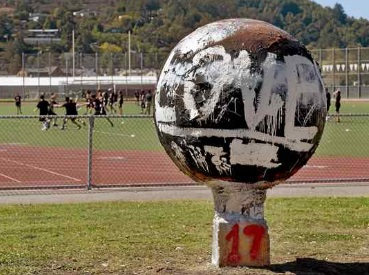 "The ""spirit ball"" sculpture at Redwood High School has been painted over after school officials discovered a racial slur directed at Assistant Principal LaSandra White. Robert Tong — Marin Independent Journal"