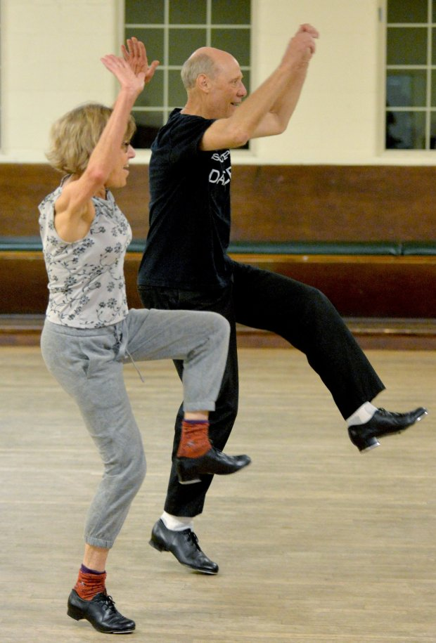 Diana Greenlee, left, and husband Lue Douglas of Oakland, clog dance during a Diablo Mountain Cloggers class held at the Danville Grange in Danville, Calif., on Wednesday, Sept. 28, 2016. The weekly class features two sessions of clog dancing, the beginning session followed by the club dances. Although the sessions include some traditional style clogging, most of the dancing is in the popular form of line dances. (Doug Duran/Bay Area News Group)
