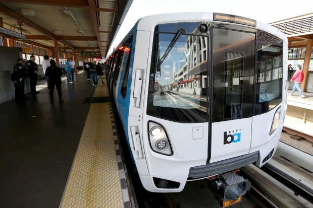 One of BART's new train cars on display at the Pleasant Hill station in Walnut Creek, Calif., on Saturday, Oct. 15, 2016. The agency is planning to replace its 669 train cars with 775 new ones, which will help expand capacity on the overcrowded system. (Anda Chu/Bay Area News Group)