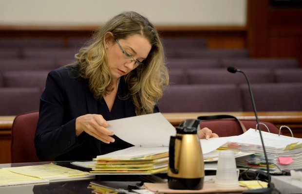 Prosecutor Alison Chandler looks over notes before the jury trial begins for Ron Guinto in Judge Barry Baskin's courtroom at the A.F. Bray Courthouse in Martinez, Calif., on Monday, Oct. 31, 2016. Guinto, who is a former Richmond teacher, is facing felony counts of sexually abusing children over a n 11-year period. (Susan Tripp Pollard/Bay Area News Group)