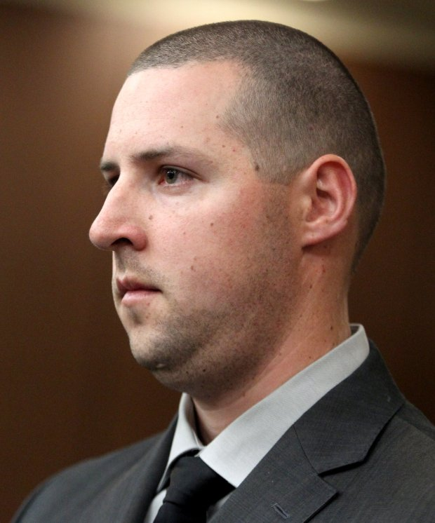 Oakland police officer Ryan Walterhouse appears in court for an arraignment hearing at the Hayward Hall of Justice in Hayward, Calif., on Friday, Oct. 21, 2016. Walterhouse pleaded not guilty to felony and misdemeanor charges related to prostitution crimes. (Anda Chu/Bay Area News Group)