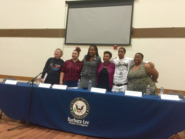 Treyvon Godfrey (second from right), 19, was a youth panelist at a town hall on gun violence hosted by Rep. Barbara Lee (D-Oakland)in January. He was fatally shot in a double homicide Monday morning in North Oakland. (Courtesy of Rosalinda Hernandez of Oakland Voices)