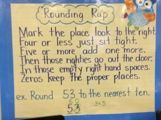 In teacher Geannine Fernandez's 3rd-grade class at Los Medanos Elementary in Pittsburg, a rap posted on the wall reminded students how to round numbers up to the nearest 10.
