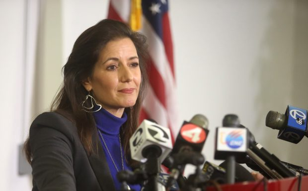 Oakland Mayor Libby Schaaf speaks at a press conference regarding the deadly Ghost Ship warehouse fire at the Emergency Operations Center on Wednesday, Dec. 7,2016, in Oakland, Calif. (Aric Crabb/Bay Area News Group)