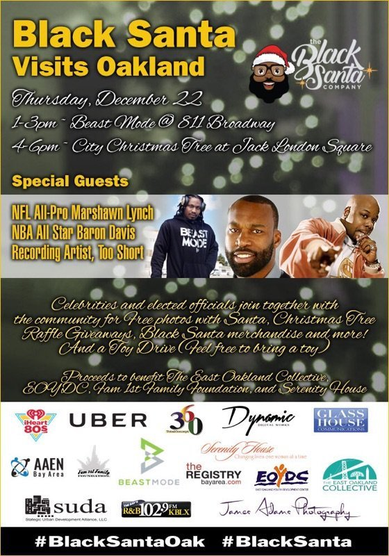 A promotional flyer for holiday-themed events in Old Oakland and Jack London Square Thursday, Dec. 22, 2016, will feature Oakland native, National Football League All-Pro and entrepreneur Marshawn Lynch, former Golden State Warrior and NBA All-Star and documentary film director and producer Baron Davis with special guest and veteran hip-hop recording artist Too Short.