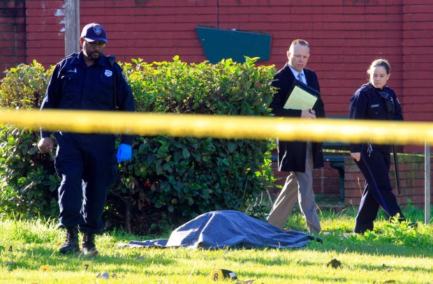 Oakland police investigators and crime scene investigators work at the scene of an early morning homicide at Mosswood Park in Oakland, Calif., on Wednesday, Dec. 21, 2016. (Laura A. Oda/Bay Area News Group)