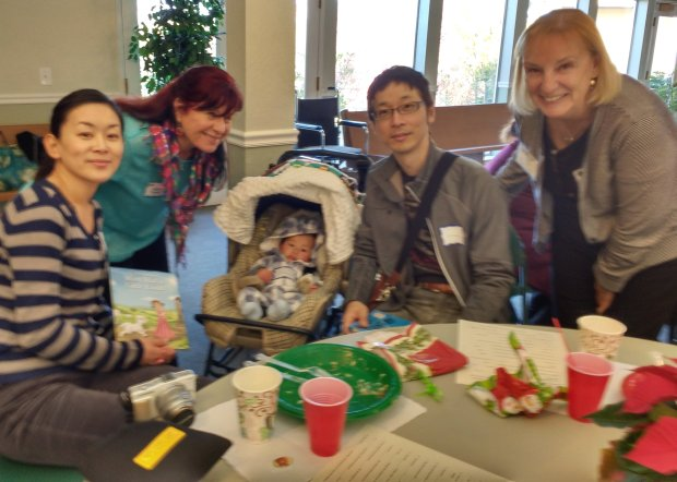 The Diablo Valley Literacy Council holiday party in December welcomed English language learners and their tutors, including Naoko Kitamura, left, Mary Thomas, Chihaya Kitamura, Mitsuhiro Kitamura and Kris Torske. Make new friends at www.dvlc4esl.org.