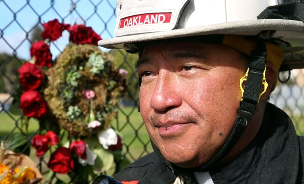 Father Jayson Landeza, chaplain for the Oakland Fire Department, describes on Tuesday, Dec. 6, 2016, his work providing comfort to first responders of the deadly Ghost Ship fire in Oakland, Calif. (Karl Mondon/Bay Area News Group)