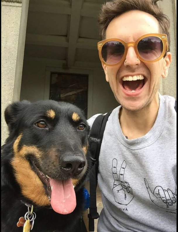 Courtesy Jack Bohlka — Em Bohlka in an undated photo with her dog. Bohlka, of Oakland, was among those who perished Dec. 2, 2016 in the fire that raged through the Ghost Ship live/work artist's collective housed in a warehouse in east Oakland.