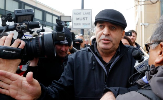Al Salman, the uncle of Noor Salman, talks to a crowd of media after the court appearance of his niece outside the Federal Courthouse in Oakland, Calif., on Tuesday, Jan. 17, 2017. (Laura A. Oda/Bay Area News Group)